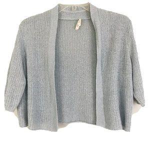 Eileen Fisher Blue Silk Linen Short Sleeve Shrug
